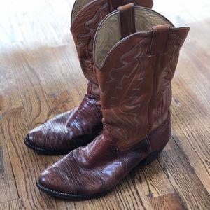 🤠VINTAGE Iguana Skin Cowboy Boots
